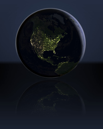 visible: North America at night on globe with visible city lights. 3D illustration.