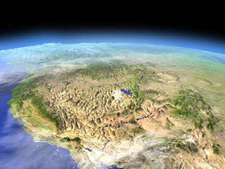 orbiting: West coast of USA from Earths orbit in space. 3D illustration with detailed planet surface. Stock Photo