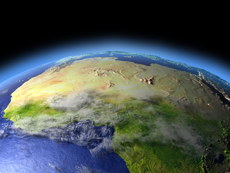 North Africa from Earths orbit in space. 3D illustration with detailed planet surface.
