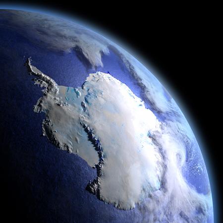 Antártida en la oscuridad al amanecer. Ilustración 3D con la superficie detallada del planeta, la atmósfera y las luces visibles de la ciudad.