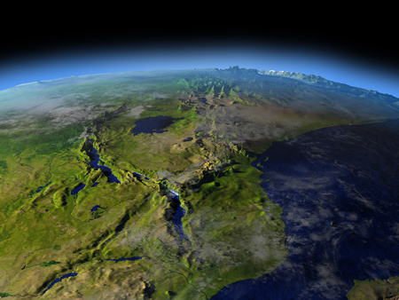 Great lakes of Africa from Earths orbit in space. 3D illustration with detailed planet surface.