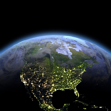 continente americano: North America in the dark at dawn. 3D illustration with detailed planet surface, atmosphere and visible city lights. Foto de archivo
