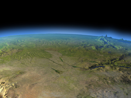 Okawango delta from Earths orbit in space. 3D illustration with detailed planet surface. Stock Photo