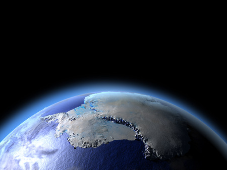 Antarctica from Earths orbit in space. 3D illustration with detailed planet surface.