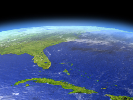 キューバとフロリダ州の空間で地球の軌道から。詳細な惑星の表面に 3 D のイラスト。 写真素材 - 80335878