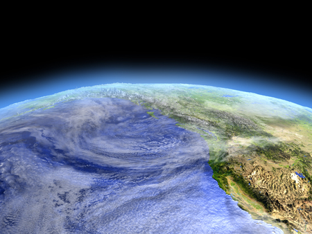 orbiting: West coast of Canada from Earths orbit in space. 3D illustration with detailed planet surface.