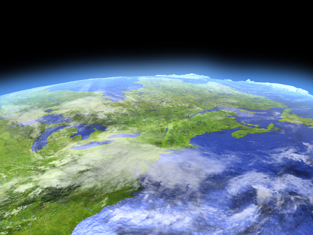 East coast of Canada from Earths orbit in space. 3D illustration with detailed planet surface.