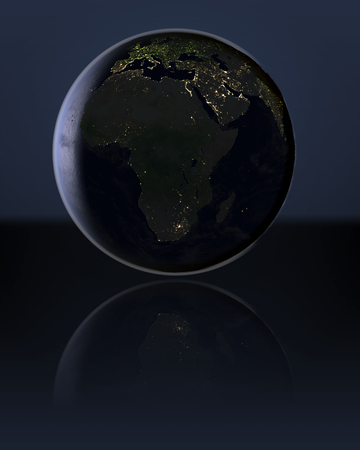 visible: Africa at night on globe with visible city lights. 3D illustration.