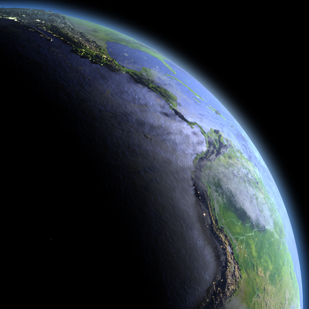 Eastern Pacific in the dark at dawn. 3D illustration with detailed planet surface, atmosphere and visible city lights. Stock Photo
