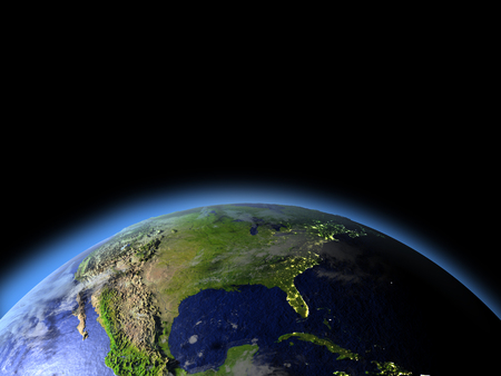 continente americano: North America from Earths orbit in space. 3D illustration with detailed planet surface. Foto de archivo