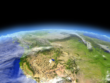 colorado rocky mountains: California from Earths orbit in space. 3D illustration with detailed planet surface.