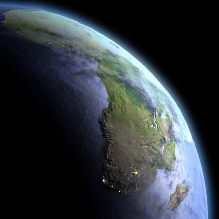 Africa in the dark at dawn. 3D illustration with detailed planet surface, atmosphere and visible city lights. Stock Photo