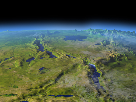 orbiting: Tanzania region from Earths orbit in space. 3D illustration with detailed planet surface. Stock Photo