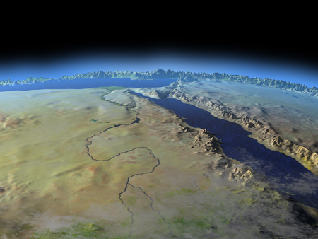 Egypt from Earths orbit in space. 3D illustration with detailed planet surface.