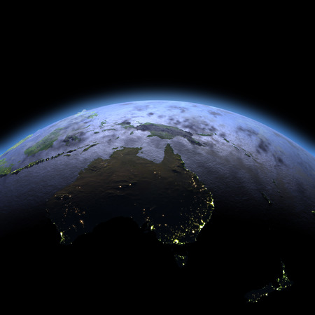 Australia in the dark at dawn. 3D illustration with detailed planet surface, atmosphere and visible city lights.