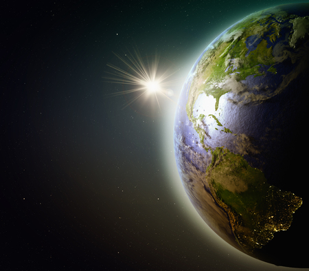 Americas during sunset as seen from Earths orbit in space. 3D illustration with detailed planet surface. Stock Photo