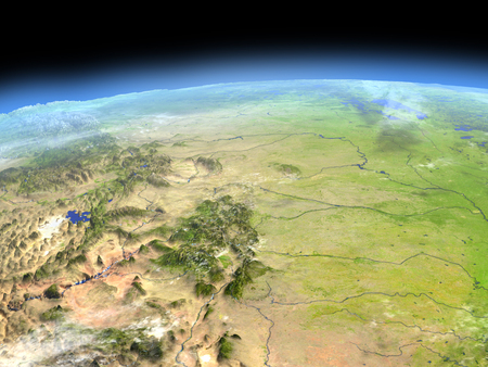 Central USA from Earths orbit in space. 3D illustration with detailed planet surface.