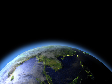 orbiting: Indochina from Earths orbit in space. 3D illustration with detailed planet surface. Stock Photo