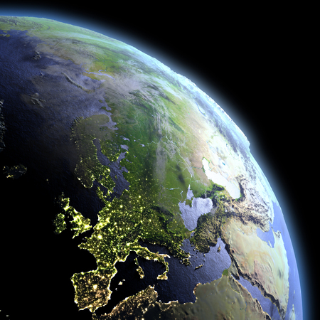Europe in the dark at dawn. 3D illustration with detailed planet surface, atmosphere and visible city lights.
