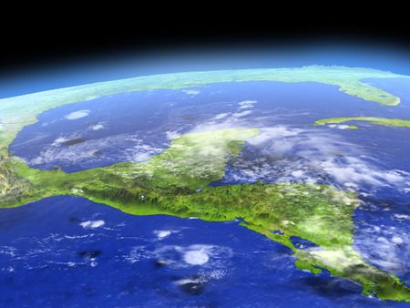 Yucatan from Earths orbit in space. 3D illustration with detailed planet surface. 版權商用圖片