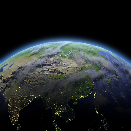 city lights: East Asia in the dark at dawn. 3D illustration with detailed planet surface, atmosphere and visible city lights.