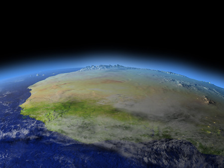 mauritania: Western Africa from Earths orbit in space. 3D illustration with detailed planet surface.