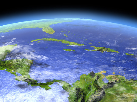 North Caribbean from Earths orbit in space. 3D illustration with detailed planet surface. Elements of this image furnished by NASA.