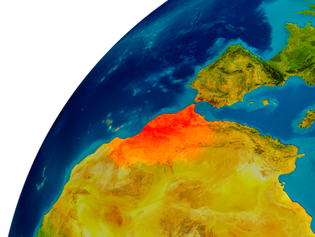 Morocco in red on topographic globe. 3D illustration with detailed planet surface.