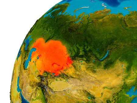Kazakhstan in red on topographic globe. 3D illustration with detailed planet surface.
