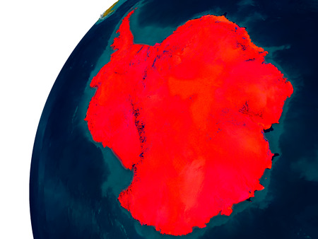 Antarctica in red on topographic globe. 3D illustration with detailed planet surface.