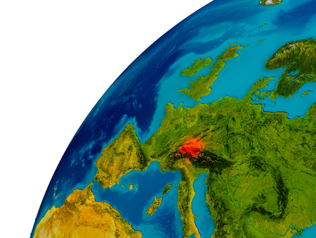 Switzerland in red on topographic globe. 3D illustration with detailed planet surface. Stock Photo
