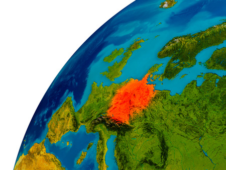 Germany in red on topographic globe. 3D illustration with detailed planet surface.