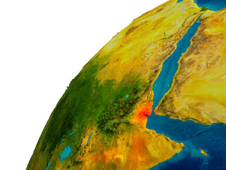 djibouti: Djibouti in red on topographic globe. 3D illustration with detailed planet surface. Stock Photo