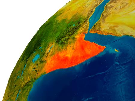 Somalië in rood op topografische wereld. 3D illustratie met gedetailleerd planeetoppervlak.