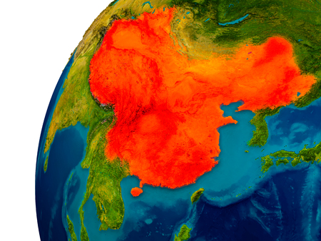 mapa china: China in red on topographic globe. 3D illustration with detailed planet surface. Foto de archivo