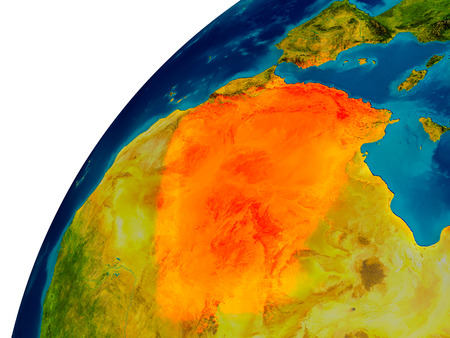 Algeria in red on topographic globe. 3D illustration with detailed planet surface.