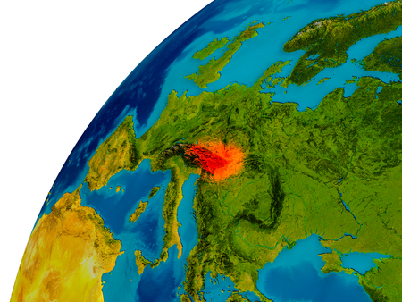 Austria in red on topographic globe. 3D illustration with detailed planet surface.