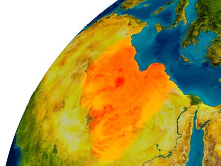 Libië in het rood op de topografische wereld. 3D illustratie met gedetailleerd planeetoppervlak. Stockfoto