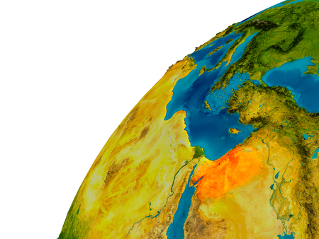 Jordanië in rood op topografische bol. 3D illustratie met gedetailleerde planeet oppervlak.