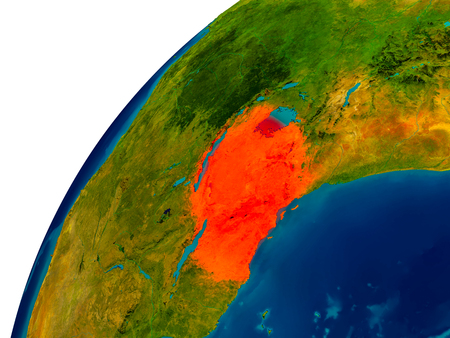 tanzania: Tanzania in red on topographic globe. 3D illustration with detailed planet surface.