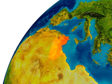 Tunesië in het rood op de topografische wereld. 3D illustratie met gedetailleerd planeetoppervlak. Stockfoto