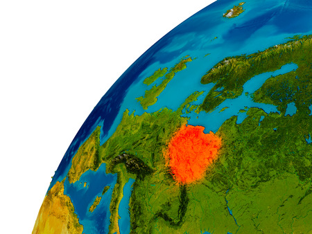 Poland in red on topographic globe. 3D illustration with detailed planet surface. Stock Photo