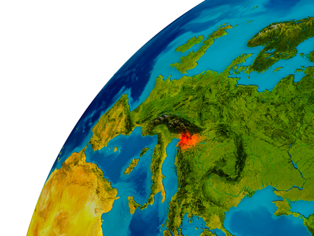 Slovenia in red on topographic globe. 3D illustration with detailed planet surface. 版權商用圖片