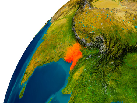 Bangladesh in red on topographic globe. 3D illustration with detailed planet surface.