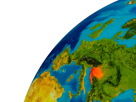 Croatia in red on topographic globe. 3D illustration with detailed planet surface.