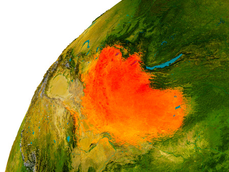 Mongolia in red on topographic globe. 3D illustration with detailed planet surface.