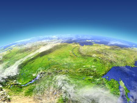 宇宙で地球の軌道からシベリア。詳細な惑星の表面に 3 D のイラスト。 写真素材