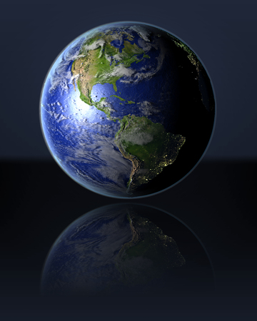 Americas on full globe with dark background. 3D illustration with detailed planet surface, atmosphere and illuminated cities.