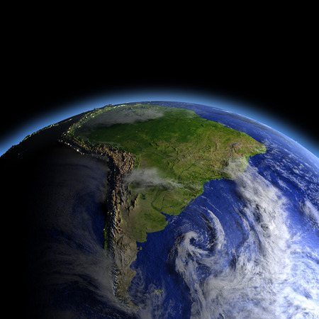 South America lit by morning light as seen from Earths orbit in space. 3D illustration with detailed planet surface.