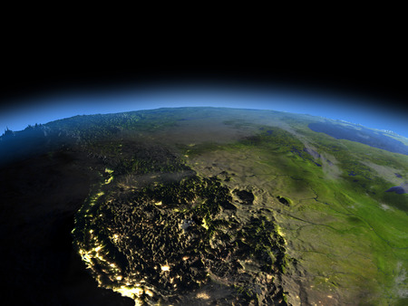 California from space  at night with visible illuminated city lights. 3D illustration with detailed planet surface.